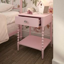 Pink Nightstand Metal Night Stand with Drawer Lower Shelf Vi
