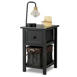 Mini Night Stand 2 Layer 1 Drawer Bedside End Table Organize