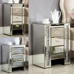 Mirrored 3 Drawers Nightstand Bedside Cabinet Sofa End Table