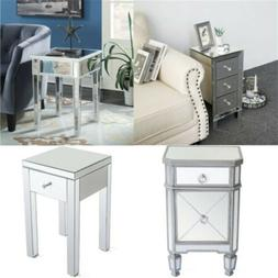 mirrored drawers table sofa nightstand bedside bedroom