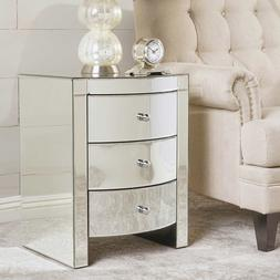 Mirrored End Table or Night Stand Curved Face 3 Drawers Poli