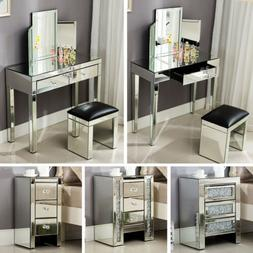 Mirrored Glass Vanity Table Bedside Cabinet Nightstand Stool