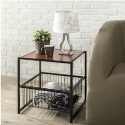 """Modern 20"""" Coffee Table - Night Stand With Metal Storage"""