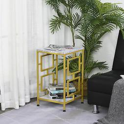 Modern Faux Marble Living Room Accent Side Coffee Table End