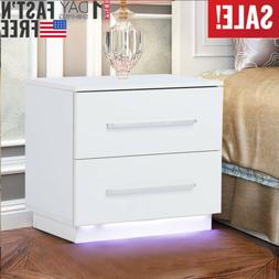 Modern LED Light Night Stand End Table Bedside Bookcase Book