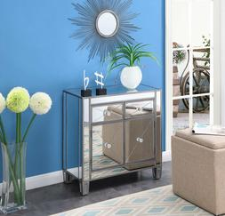 Modern Mirrored Entryway Accent Table Glam Nightstand Cabine
