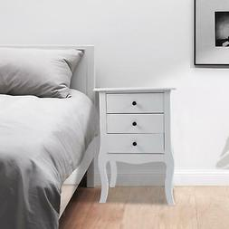 Modern Night Stand End Side Bedside Table Organizer Wood Whi