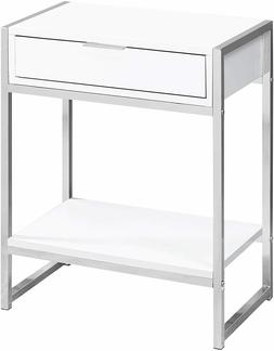 Modern Nightstand with Drawer White Open Bottom Shelf Bedroo