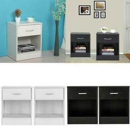 Modern Nightstands End Table Shelf with Drawer Bedroom Furni