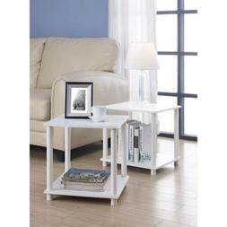 Modern End Side Table Storage Shelf Cube Wood Living Room De