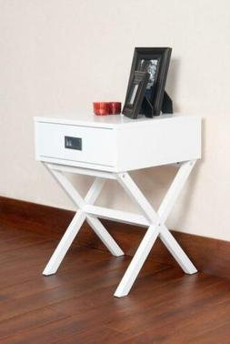 Modern X-Shape End Table With Drawer White Finish Side Accen