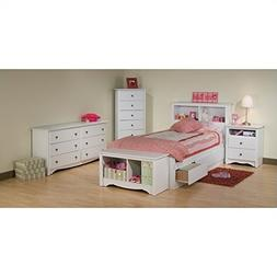 Prepac Monterey White Twin Wood Platform Storage Bed 4 Piece