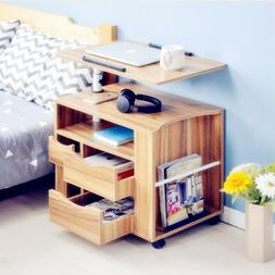 Movable Adjustable Bedside Table Laptop Rolling Wooden Stand