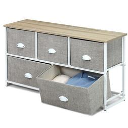 Multi Storage Space Unit w/ 5 Drawers Metal Frame Side Table