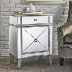 Nelson Silver Finished Mirrored 2 Drawer Cabinet with Faux W