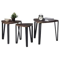 Nesting Coffee Table Set of 3 End Side Brown Stacking Wood w