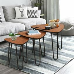 Nesting-Tables Living Room Coffee Table Sets of 3 Stacking E