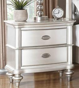 NEW ZURICH METALLIC SILVER FINISH WOOD NIGHTSTAND END TABLE