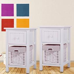 JAXPETY Set of 2 Night Stand 2 Layer 1 Drawer Bedside End Ta