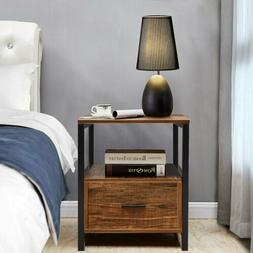 Night Stand 2 Layer 1 Drawer Bedside End Table Organizer Woo
