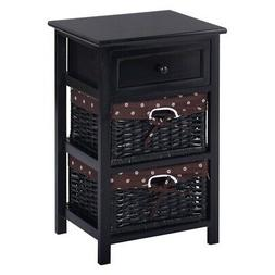 Night Stand 3 Tier 1 Drawer Bedside End Table Organizer Stor