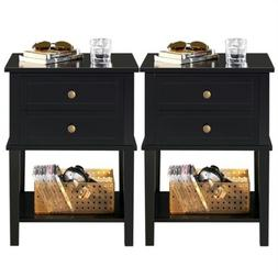 Night Stand 3 Tier 2 Drawers Bedside End Table Organizer Woo