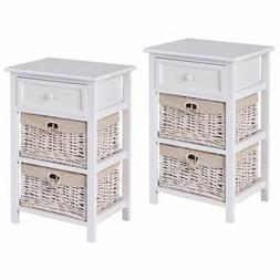 Night Stand 3 Tiers 1 Drawer Bedside End Table Organizer Woo