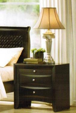 Night Stand with Storage Drawers - Black Finish