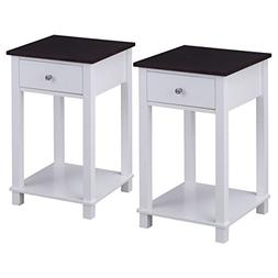 Giantex Set Of 2 Night Stand for Bedrooms End Table with Sto