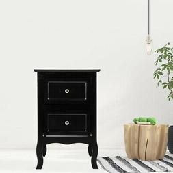 Night Stand Bedside End Table Organizer Wood Bedroom Black W
