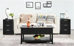 Wooden End Side Bedside Table Accent Nightstand Bedroom w/ 3