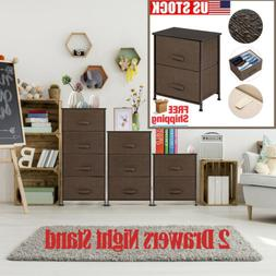Night Stand End Table Storage Bins Tower Organizer Unit For