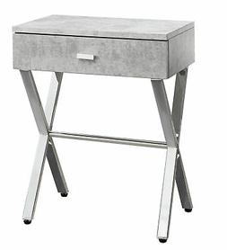 Monarch Night Stand Grey Cement in Chrome Metal I 3264