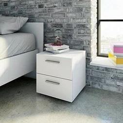Night Stand Table Bedroom Modern White End Bedside With Two