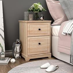 Nightstand with 2 Drawer in Oak End Table by DEVAISE