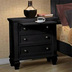 Bowery Hill Nightstand with 3 Drawers and Pull Out Shelf in