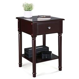 SONGMICS Nightstand Bedside Corner Table with Solid Pine Woo