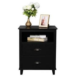 White Wooden Nightstand End Table Bedroom Furniture Bedside