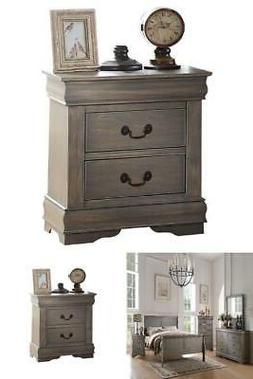 Nightstand Bedside Table 2 Drawers End Side Gray Finish Acce