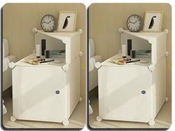 Nightstand Set Of 2 White Table Bedroom Modern Bedside Plast