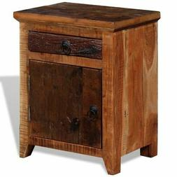 vidaXL Nightstand Solid Acacia Sleeper Wood End Bedside Tabl