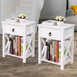 Set Of 2 Nightstand Table 2 Tier 1 Drawer End Table Home Org