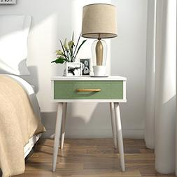 Lifewit Nightstand with 1 Green Fabric Drawer End Table Side