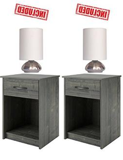 Set of 2 Nightstand End Tables Pair Bedroom Table Furniture
