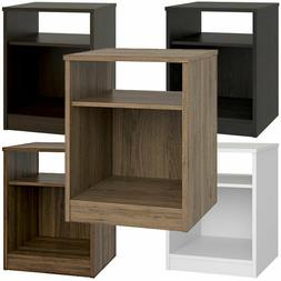 Nightstand w/ Open Shelf and Cubby, Bedside Table 6 Finishes