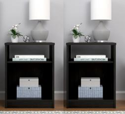 Nightstands  with Open Shelf Cubby MDF End Tables Pair Bedro