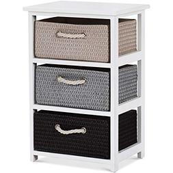Giantex Nightstands Wooden End Tables W/Knitted Drawers Beds