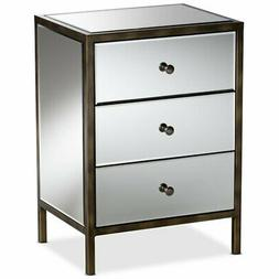 Baxton Studio Nouria 3 Drawer Mirrored Nightstand Table in B