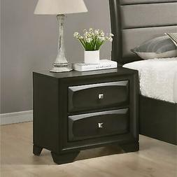 Oakland Antique Gray Finish Wood 2 Drawers Nightstand Grey 2