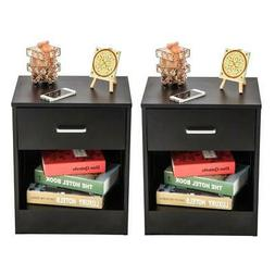 Pair of Night Stand Bedside End Table Organizer Wood Bedroom